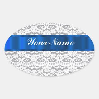 Blue & white lace oval sticker