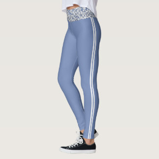 (blue & white lace workout) leggings