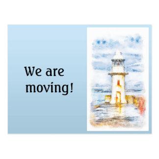 Blue White Lighthouse Change of Address Postcard