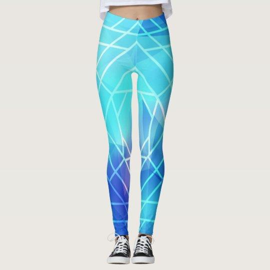 Blue White line Leggings
