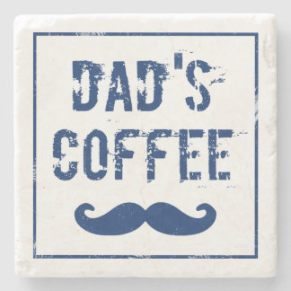 Blue & White Marble Coaster Dad's Coffee Mustache