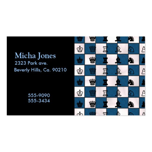 Blue & White Marbled Chess Board & Pieces Business Card Templates