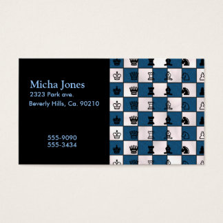 Blue & White Marbled Chess Board & Pieces Business Card