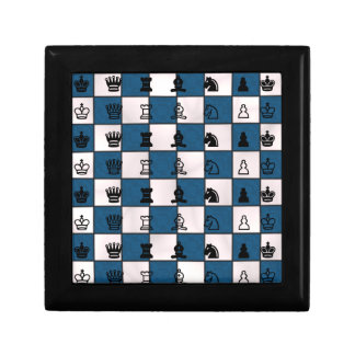 Blue & White Marbled Chess Board & Pieces Small Square Gift Box