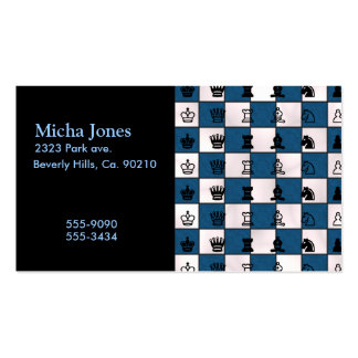 Blue & White Marbled Chess Board & Pieces Pack Of Standard Business Cards