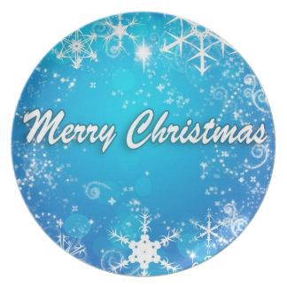 Blue white merry christmas plate