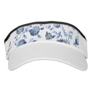 Blue & White Modern Botanical Floral Toile Visor