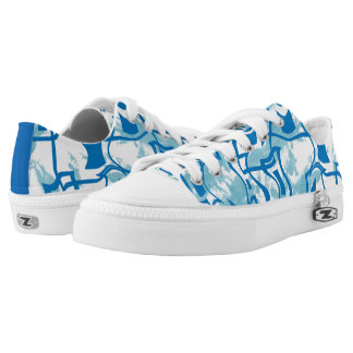 Blue White Modern Retro Square Low Top Printed Shoes