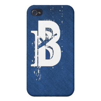 "Blue white monogram ""B"" customizable Cases For iPhone 4"