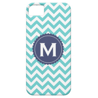 Blue White Monogram Chevron Pattern Barely There iPhone 5 Case