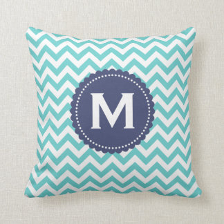 Blue White Monogram Chevron Pattern Cushion