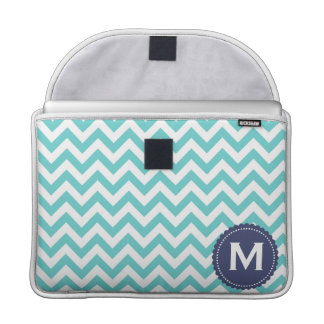 Blue White Monogram Chevron Pattern Sleeve For MacBooks