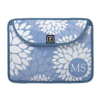 Blue White Monogram Flowers MacBook Pro Sleeves