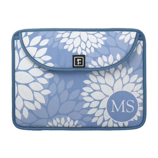 Blue White Monogram Flowers MacBook Pro Sleeves