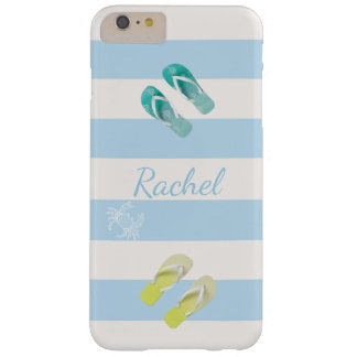 Blue White nautical stripes and flip flop decor Barely There iPhone 6 Plus Case