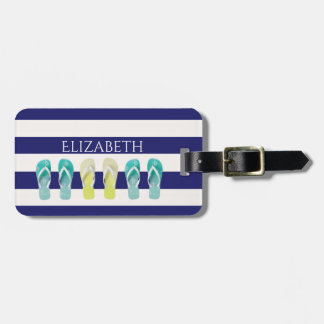 Blue White nautical stripes and flip flop decor Luggage Tag