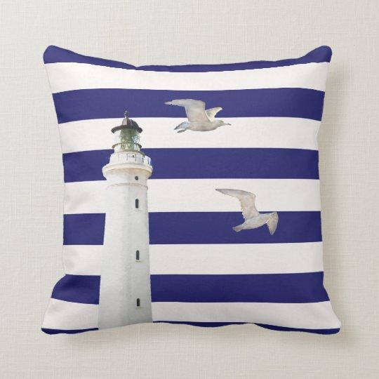 Blue white nautical stripes and lighthouse gulls throw