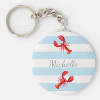 Blue white nautical stripes red lobsters key ring
