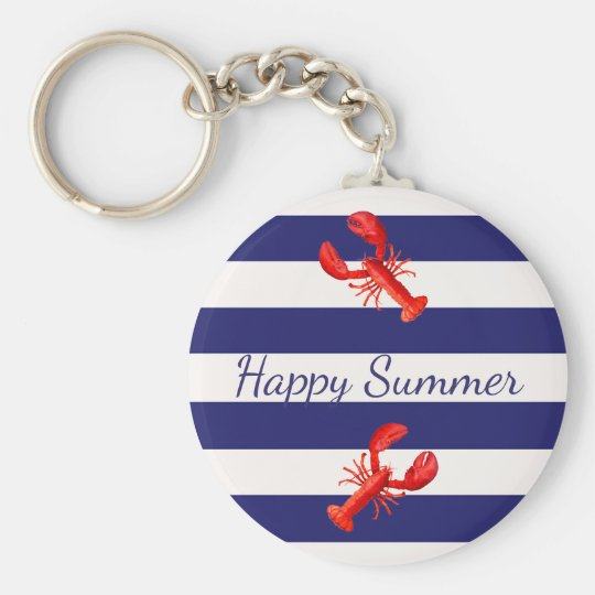 Blue White nautical stripes with red lobsters Key