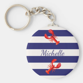 Blue White nautical stripes with red lobsters Key Ring
