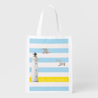 Blue white nautical summer stripes and lighthouse