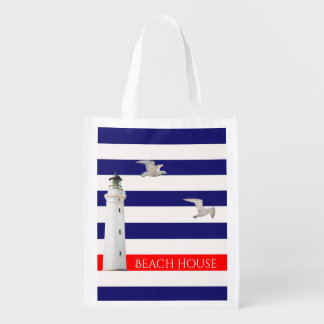 Blue white nautical summer stripes and lighthouse reusable grocery bag