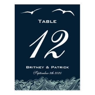 Blue & White Nautical Wedding Table Number Cards