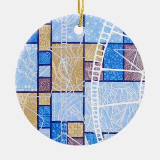 Blue white ochre abstract pattern, stars & squares