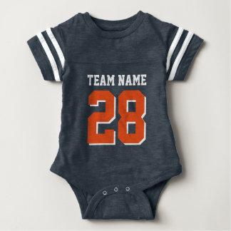 Blue White Orange Football Sports Baby Romper