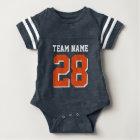Blue White Orange Football Sports Baby Romper Baby Bodysuit