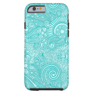 Blue & White Ornate Vintage Floral Paisley Tough iPhone 6 Case
