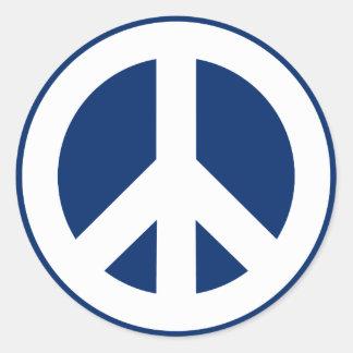Blue & White Peace Classic Round Sticker