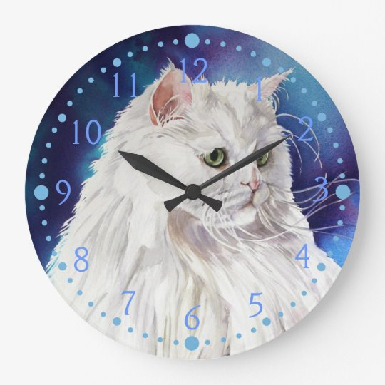 Blue White Persian Cat Portrait Cat Art Wall