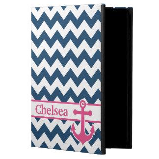 Blue White Pink Chevron Anchor Name Cover For iPad Air