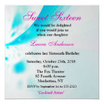 Blue-White-Pink Modern Floral Abstract Sweet 16th Custom Invite