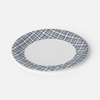 Blue White Plaid 1 7 Inch Paper Plate