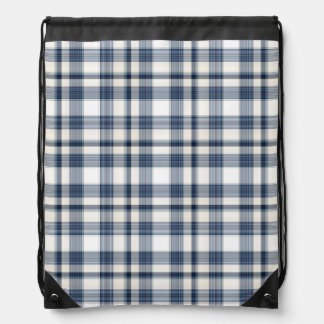 Blue White Plaid 1 Drawstring Bag