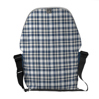 Blue White Plaid 1 Messenger Bag