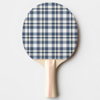 Blue White Plaid 1 Ping Pong Paddle