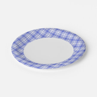 Blue White Plaid 2 7 Inch Paper Plate