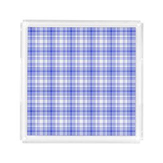 Blue White Plaid 2 Acrylic Tray