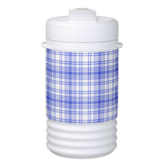 Blue White Plaid 2 Cooler
