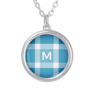 Blue white plaid with tiny monogram silver plated necklace