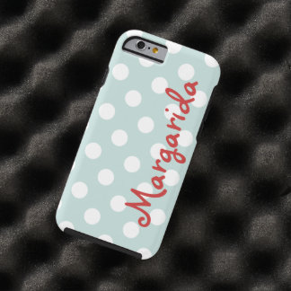 Blue White Polka Dots Personalized Name Vertical Tough iPhone 6 Case