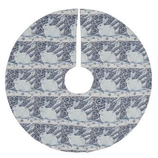 Blue White Rabbit Designer Christmas Tree Skirt