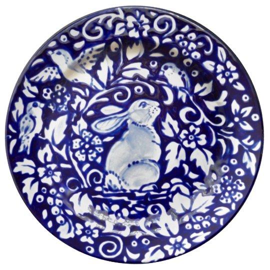 Blue & White Rabbit Floral Pretty Porcelain Plate