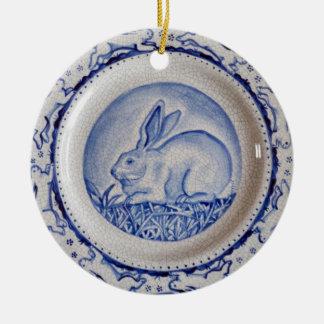 "Blue & White Rabbit Pottery Ornament,""Dedham Blue"" Christmas Ornament"