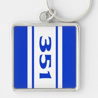 Blue White Racing Stripes 351 Motor Size Keychain Keychains