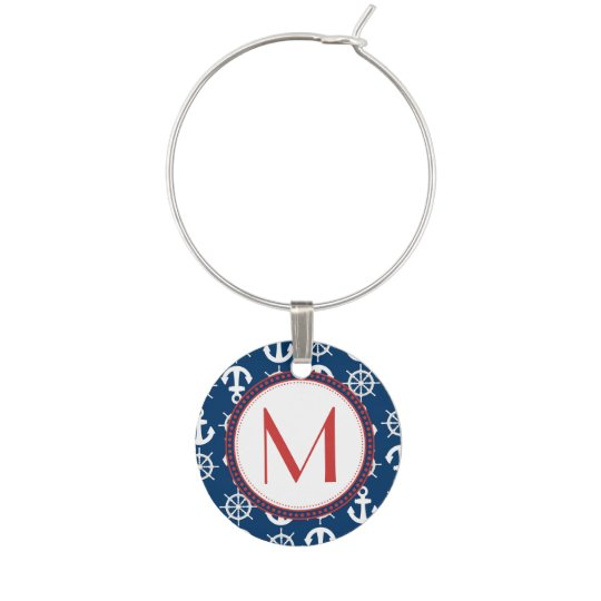 Blue White Red Nautical Beach Anchors Wheels Wine Charm