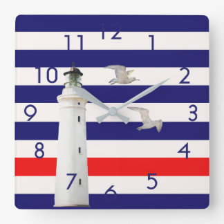 Blue white red nautical stripes with lighthouse square wall clock